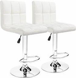 High back stool, white