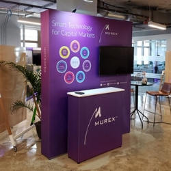 """6'6""""  Box stand with overhead lighting & wall mounted TV, with coordinating narrow counter"""