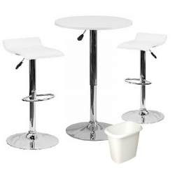 Networking Package - $299   Includes 2 White Padded Stools, White Cocktail Table, Small Wastebasket